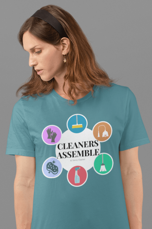 Cleaners Assemble, Savvy Cleaner Funny Cleaning Shirts, Eco Unisex T-Shirt