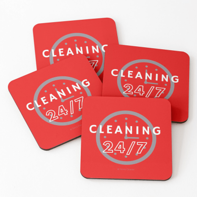 Cleaning 24-7, Savvy Cleaner Funnny Cleaning Gifts, Cleaning Coasters