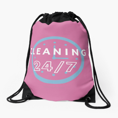 Cleaning 24-7, Savvy Cleaner Funnny Cleaning Gifts, Cleaning Drawstring Bag