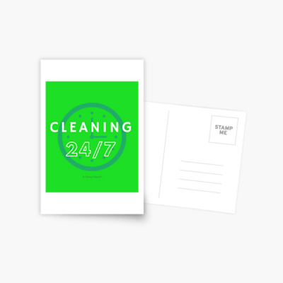 Cleaning 24-7, Savvy Cleaner Funnny Cleaning Gifts, Cleaning Postcard
