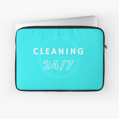 Cleaning 24-7, Savvy Cleaner Funnny Cleaning Gifts, Cleaning laptop Sleeve