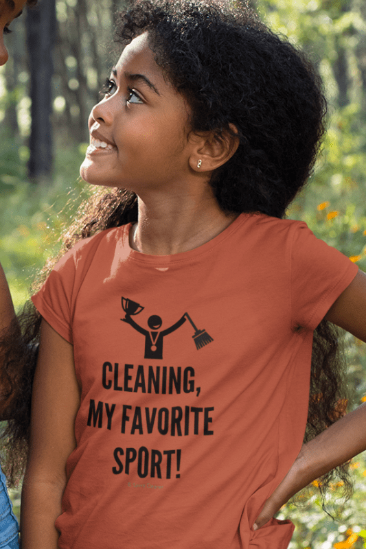 Cleaning My Favorite Sport, Savvy Cleaner Funny Cleaning Shirts, Kids Premium T-Shirt