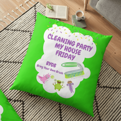 Cleaning Party, Savvy Cleaner Funny Cleaning Gifts, Cleaning floor pillow