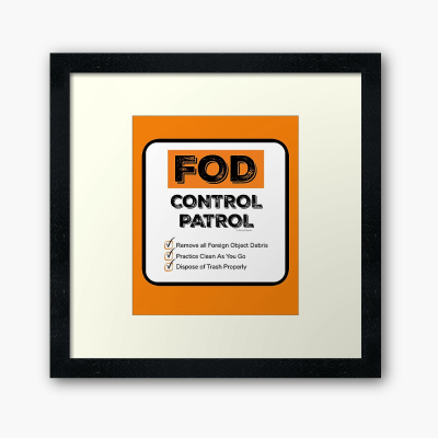 FOD Control Patrol, Savvy Cleaner Funny Cleaning Gifts, Framed Wall Art