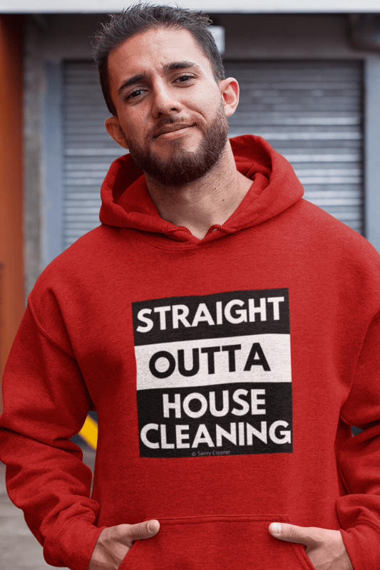 Straight Outta House Cleaning, Savvy Cleaner Funny Cleaning Shirts, Classic Pullover Hoodie