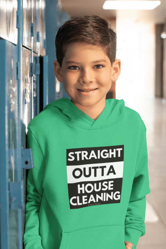 Straight Outta House Cleaning, Savvy Cleaner Funny Cleaning Shirts, Kids Classic Pullover Hoodie