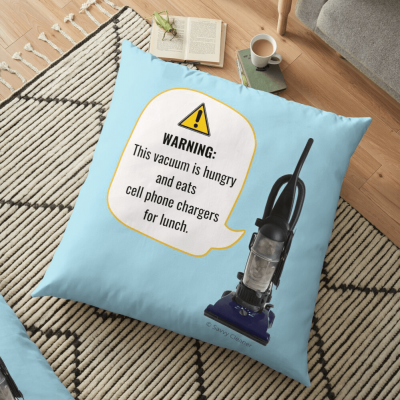 Warning, this vaccum is hungry, Savvy Cleaner, Funny Cleaning Gifts, Cleaning Floor Pillow