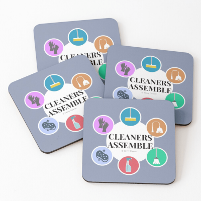 Cleaners Assemble, Savvy Cleaner Funny Cleaning Gifts, Cleaning Coasters