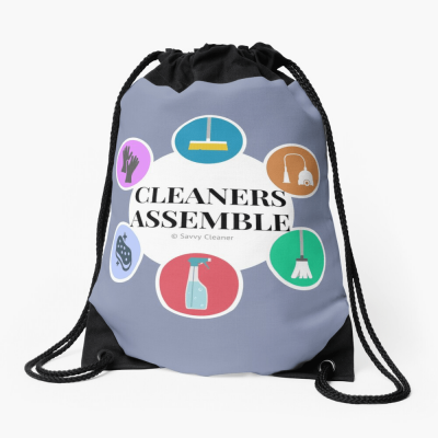 Cleaners Assemble, Savvy Cleaner Funny Cleaning Gifts, Cleaning Drawstring Bag