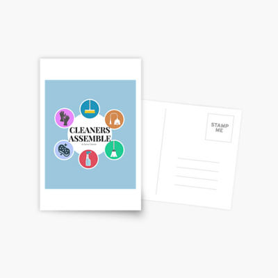 Cleaners Assemble, Savvy Cleaner Funny Cleaning Gifts, Cleaning Postcard
