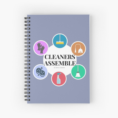 Cleaners Assemble, Savvy Cleaner Funny Cleaning Gifts, Cleaning Spiral notepad