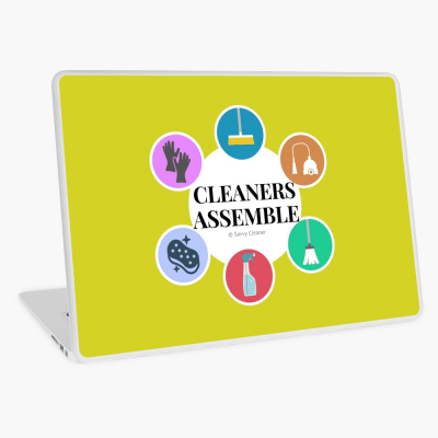 Cleaners Assemble, Savvy Cleaner Funny Cleaning Gifts, Cleaning laptop Skin