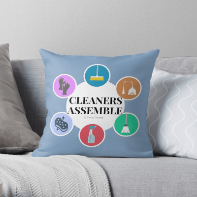 Cleaners Assemble, Savvy Cleaner Funny Cleaning Gifts, Cleaning throw Pillow