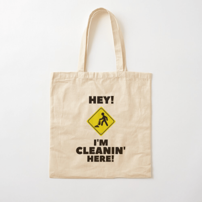 Hey I'm Cleanin Here, Savvy Cleaner Funny Cleaning Gifts, Cleaning Cotton Tote Bag