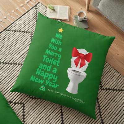 Merry Toilet, Savvy Cleaner Funny Cleaning Gifts, Cleaning Floor Pillow