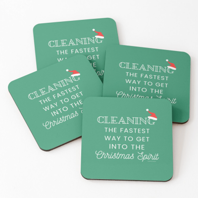 Christmas Spirit, Savvy Cleaner Funny Cleaning Gifts, Cleaning Coasters