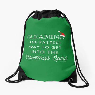 Christmas Spirit, Savvy Cleaner Funny Cleaning Gifts, Cleaning Drawstring Bag