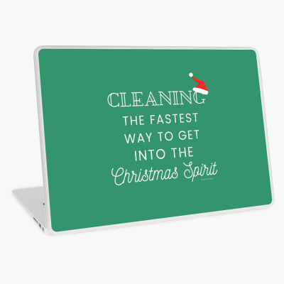 Christmas Spirit, Savvy Cleaner Funny Cleaning Gifts, Cleaning Laptop Skin