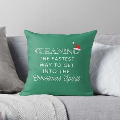 Christmas Spirit, Savvy Cleaner Funny Cleaning Gifts, Cleaning Throw Pillow