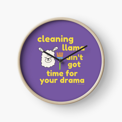 Cleaning Llama, Savvy Cleaner Funny Cleaning Gifts, Cleaning Clock