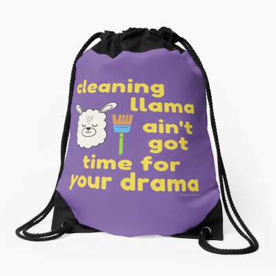 Cleaning Llama, Savvy Cleaner Funny Cleaning Gifts, Cleaning Drawstring bag