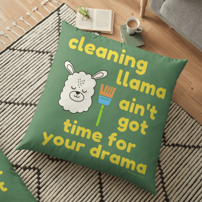 Cleaning Llama, Savvy Cleaner Funny Cleaning Gifts, Cleaning Floor Pillow