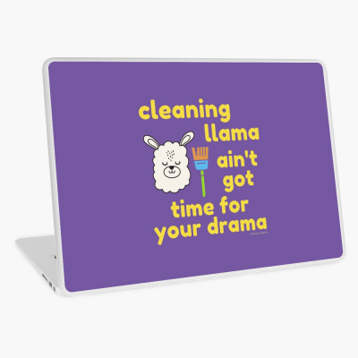 Cleaning Llama, Savvy Cleaner Funny Cleaning Gifts, Cleaning Laptop Skin