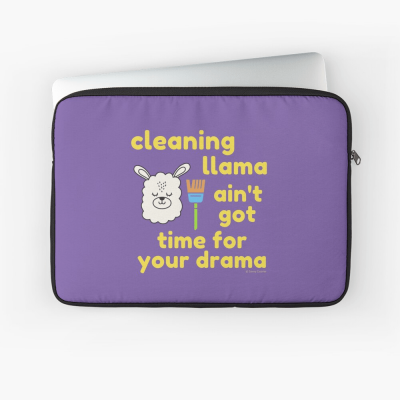 Cleaning Llama, Savvy Cleaner Funny Cleaning Gifts, Cleaning Laptop Sleeve