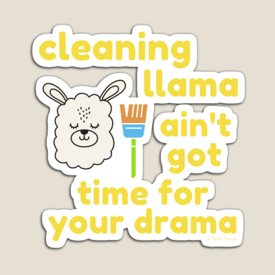 Cleaning Llama, Savvy Cleaner Funny Cleaning Gifts, Cleaning Magnet