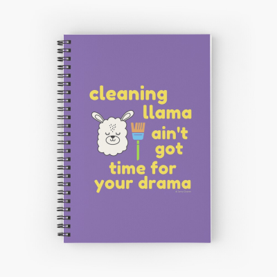 Cleaning Llama, Savvy Cleaner Funny Cleaning Gifts, Cleaning Spiral Notepad