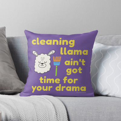Cleaning Llama, Savvy Cleaner Funny Cleaning Gifts, Cleaning Throw Pillow