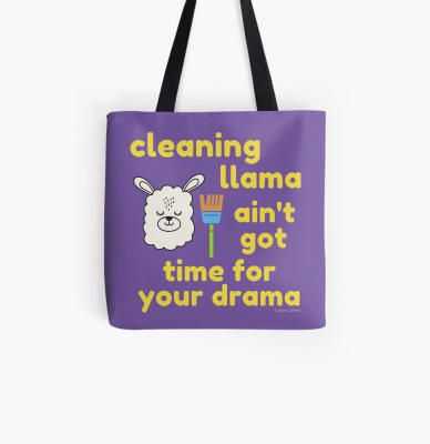 Cleaning Llama, Savvy Cleaner Funny Cleaning Gifts, Cleaning Tote Bag