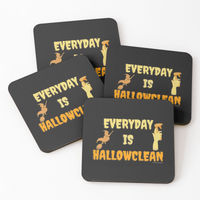 Every Day is Hallowclean, Savvy Cleaner Funny Cleaning Gifts, Cleaning Coasters