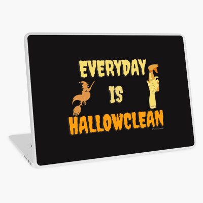 Every Day is Hallowclean, Savvy Cleaner Funny Cleaning Gifts, Cleaning Laptop Skin