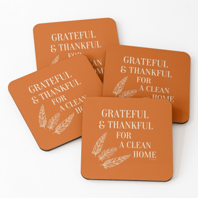 Grateful for a Clean Home, Savvy Cleaner, Funny Cleaning Gifts, Cleaning Coasters