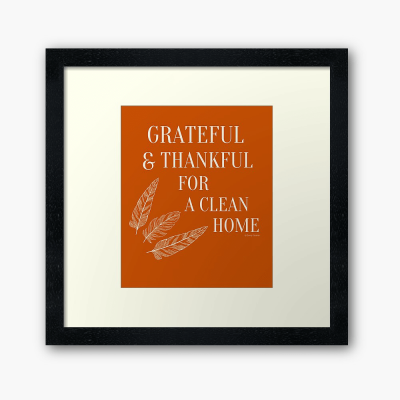 Grateful for a Clean Home, Savvy Cleaner, Funny Cleaning Gifts, Cleaning Framed Art Print