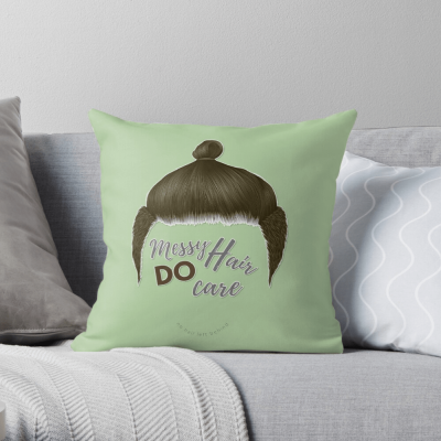 Messy Hair Do Care, Savvy Cleaner Funny Cleaning Gifts, Cleaning Throw Pillow