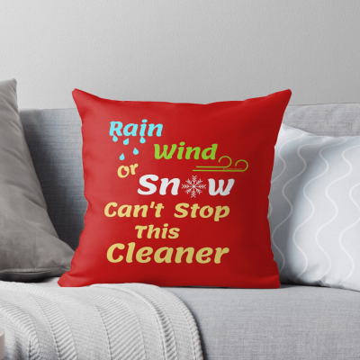 Rain Wind or Snow, Savvy Cleaner, Funny Cleaning Gifts, Cleaning Throw Pillow