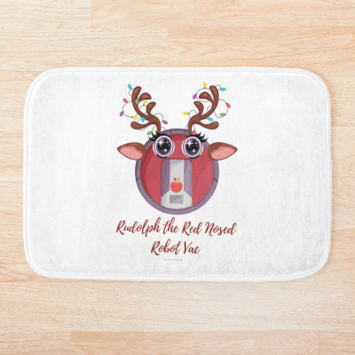 Rudolph the Red Nosed Robot Vac, Savvy Cleaner Funny Cleaning Gifts, Cleaning Bathmat