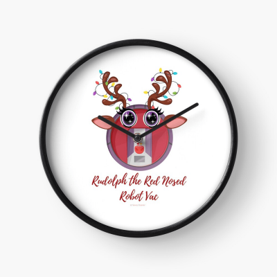 Rudolph the Red Nosed Robot Vac, Savvy Cleaner Funny Cleaning Gifts, Cleaning Clock