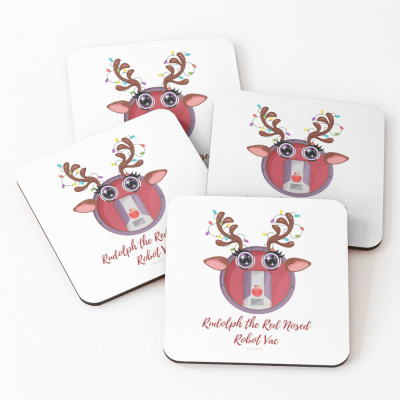Rudolph the Red Nosed Robot Vac, Savvy Cleaner Funny Cleaning Gifts, Cleaning Coasters