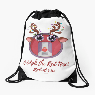 Rudolph the Red Nosed Robot Vac, Savvy Cleaner Funny Cleaning Gifts, Cleaning Drawstring Bag
