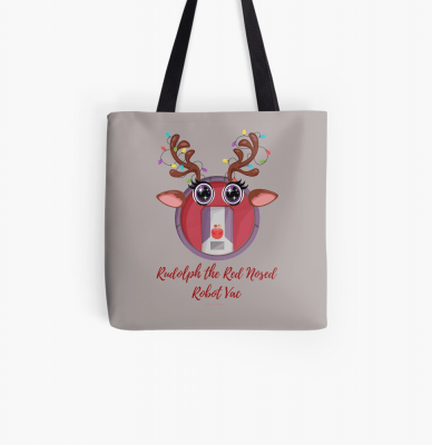 Rudolph the Red Nosed Robot Vac, Savvy Cleaner Funny Cleaning Gifts, Cleaning Tote Bag
