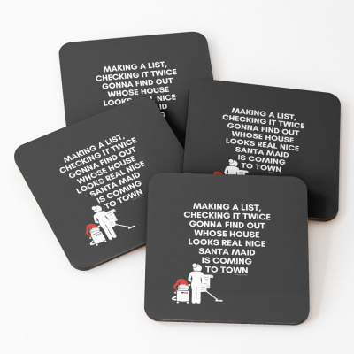 Santa Maid, Savvy Cleaner Funny Cleaning Gifts, Cleaning Coasters