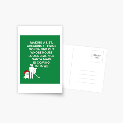 Santa Maid, Savvy Cleaner Funny Cleaning Gifts, Cleaning Postcard
