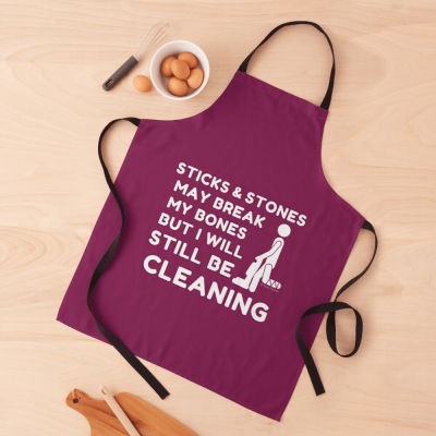 Sticks and Stones, Savvy Cleaner Funny Cleaning Gifts, Cleaning Apron