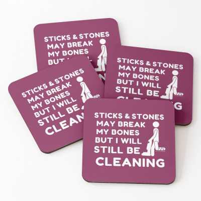 Sticks and Stones, Savvy Cleaner Funny Cleaning Gifts, Cleaning Coasters
