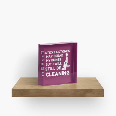 Sticks and Stones, Savvy Cleaner Funny Cleaning Gifts, Cleaning Collectible Cube