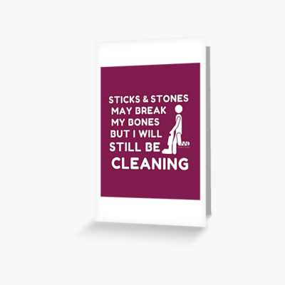 Sticks and Stones, Savvy Cleaner Funny Cleaning Gifts, Cleaning Greeting Card