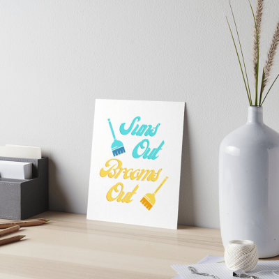 Suns Out Brooms Out, Savvy Cleaner Funny Cleaning Gifts, Cleaning Art Board Print